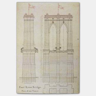 Brooklyn Bridge NYC architecture blueprint vintage Post-it® Notes