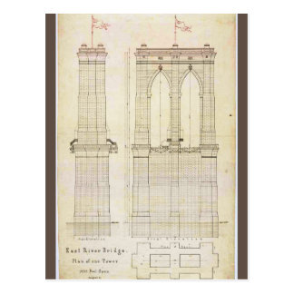 Brooklyn Bridge NYC architecture blueprint vintage Postcard