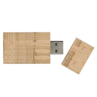 Brooklyn Bridge NYC architecture blueprint vintage Wood USB 3.0 Flash Drive