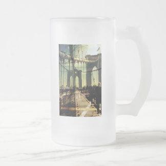 Brooklyn Bridge, NYC Frosted Glass Beer Mug