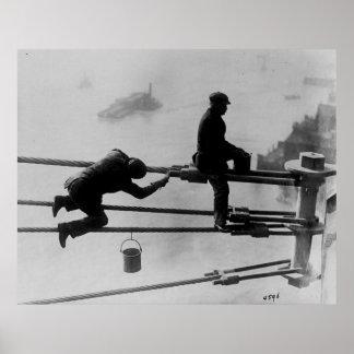 Brooklyn Bridge Painters Vintage Photograph (1915) Poster