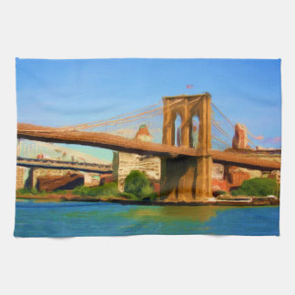 Brooklyn Bridge Painting Hand Towels