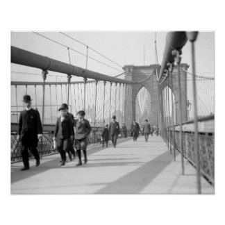 Brooklyn Bridge Pedestrians, 1909. Vintage Photo Poster