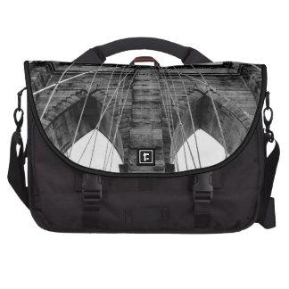 Brooklyn Bridge Photo in Black and White Laptop Commuter Bag