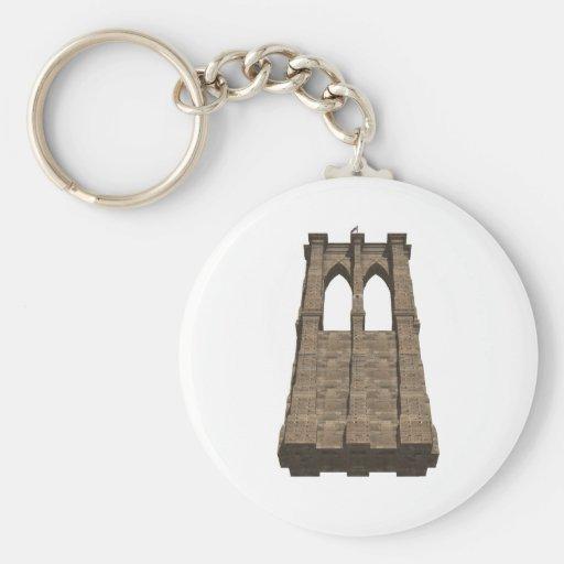 Brooklyn Bridge Pillar: 3D Model: Basic Round Button Keychain