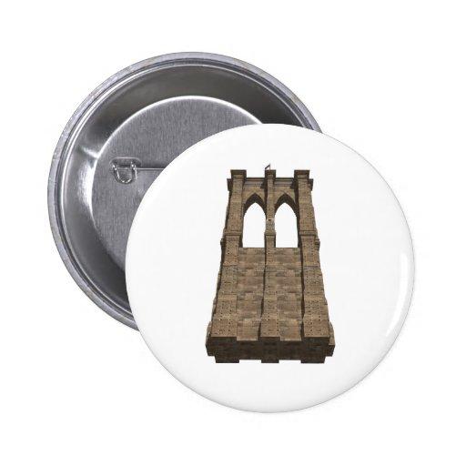 Brooklyn Bridge Pillar: 3D Model: 2 Inch Round Button