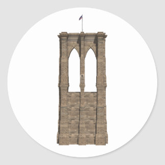 Brooklyn Bridge Pillar: 3D Model: Classic Round Sticker