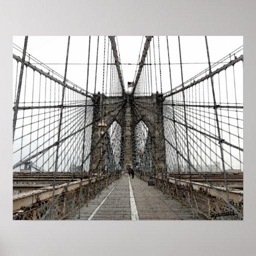 Brooklyn bridge blueprint new york city architecture by new york brooklyn bridge 2 poster zazzle malvernweather Gallery