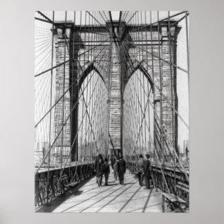 Brooklyn Bridge Promenade 1898 - New York Print