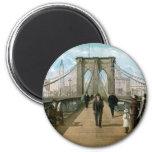 Brooklyn Bridge Promenade, New York City 2 Inch Round Magnet