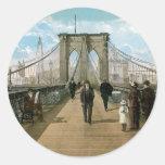 Brooklyn Bridge Promenade, New York City Classic Round Sticker