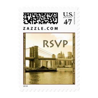 Brooklyn Bridge RSVP Small Size Postage Stamp
