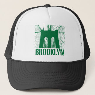 Brooklyn Bridge silhouette green Trucker Hat