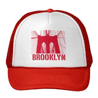 Brooklyn Bridge silhouette red Mesh Hats