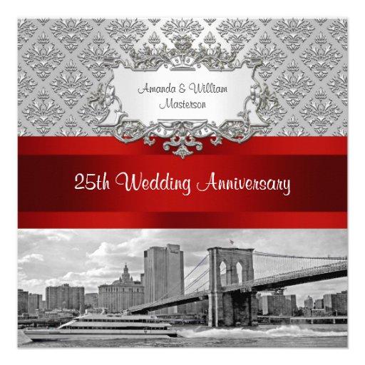 Brooklyn Bridge Silver White Damask 25th Anniv Custom Invitation