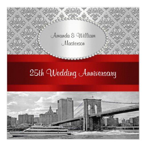 Brooklyn Bridge Silver White Damask P 25th Anniv Custom Invitation