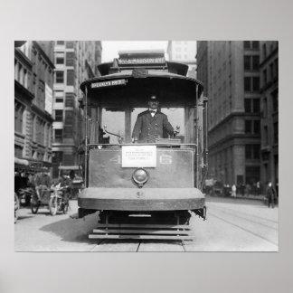 Brooklyn Bridge Trolley, 1915. Vintage Photo Poster
