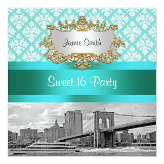 Brooklyn Bridge Turquoise White Damask Sweet 16 Card