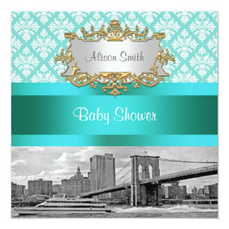 Brooklyn Bridge Turquoise Wht Damask Baby Shower Card