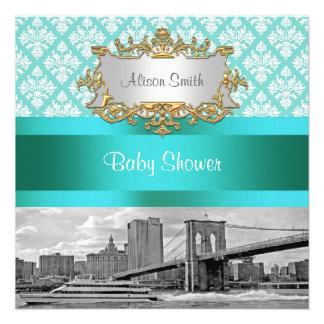 Brooklyn Bridge Turquoise Wht Damask Baby Shower Custom Invites