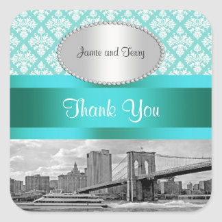 Brooklyn Bridge Turquoise Wht Damask P Thank You Square Stickers