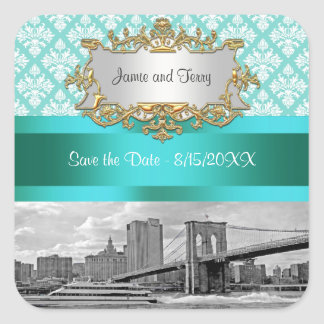 Brooklyn Bridge Turquoise Wht Damask Save Date Square Stickers