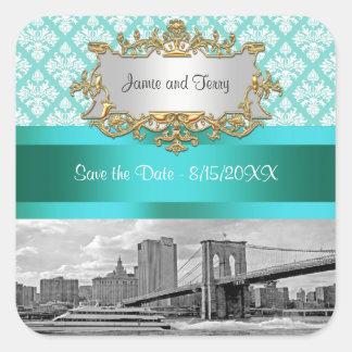 Brooklyn Bridge Turquoise Wht Damask Save Date Square Sticker