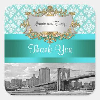 Brooklyn Bridge Turquoise Wht Damask Thank You Stickers