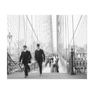 Brooklyn Bridge Walkway, 1905 Canvas Print