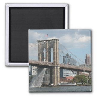 Brooklyn Bridge Waterfall 2 Inch Square Magnet