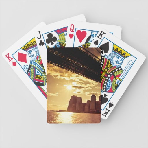 Brooklyn Bridge With New York City Skyscrapers Bicycle Playing Cards