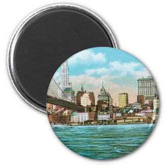 Brooklyn Bridge, Woolworth and Municipal... 2 Inch Round Magnet