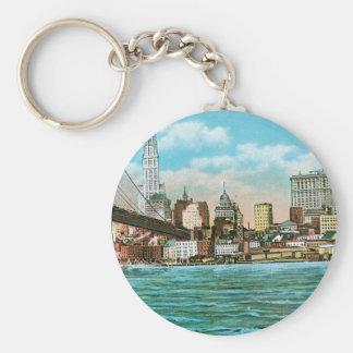 Brooklyn Bridge, Woolworth and Municipal... Basic Round Button Keychain