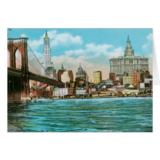Brooklyn Bridge, Woolworth and Municipal... Card