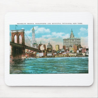 Brooklyn Bridge Woolworth and Municipal Mousepads