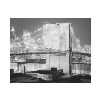 Brooklyn Brigde en Night, 1982, el negro y el blan Impresión En Lienzo Estirada