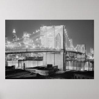 Brooklyn Brigde en Night, 1982, el negro y el blan Posters