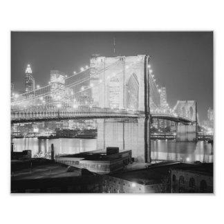 Brooklyn Brigde en Night, 1982, el negro y el blan Arte Fotografico