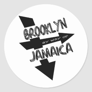 Brooklyn By Way Of Jamaica, Funky, 1-Color, Arrows Classic Round Sticker