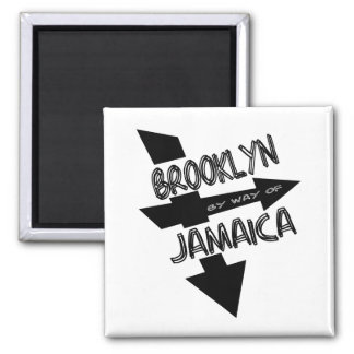 Brooklyn By Way Of Jamaica, Funky, 1-Color, Arrows 2 Inch Square Magnet