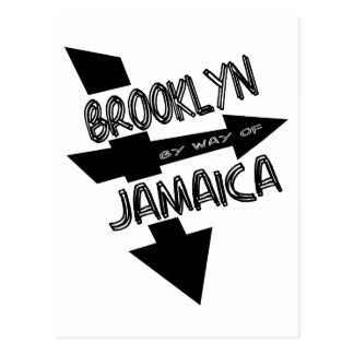 Brooklyn By Way Of Jamaica, Funky, 1-Color, Arrows Postcard
