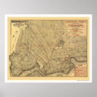 Brooklyn City Railroad Map 1874 Posters