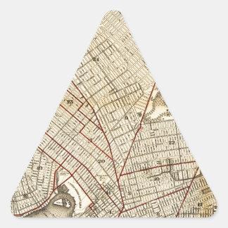 Brooklyn City Railroad Map (1874) Triangle Sticker