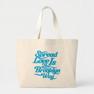 Brooklyn Love Blue Large Tote Bag
