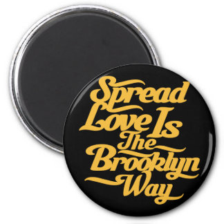 Brooklyn Love Yellow 2 Inch Round Magnet