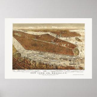 Brooklyn mapa panorámico de NY - 1877 Poster