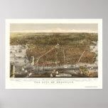 Brooklyn, mapa panorámico de NY - 1879 Impresiones