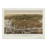 Brooklyn, mapa panorámico de NY - 1879 Póster