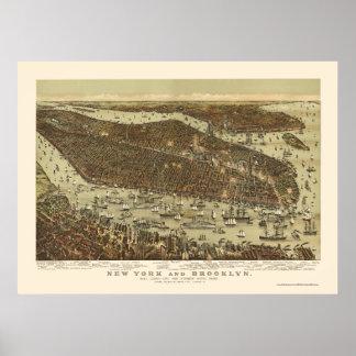 Brooklyn mapa panorámico de NY - 1892 Poster