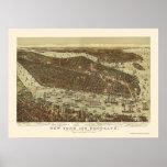 Brooklyn, mapa panorámico de NY - 1892 Poster